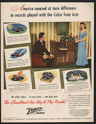 1947 ZENITH Record Player & Radio - The Sensational new Way To Play Records! AD