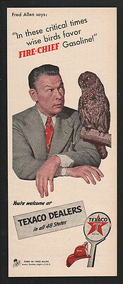 1942 TEXACO Fire-Chief Gasoline - Fred Allen - Owl - VINTAGE AD