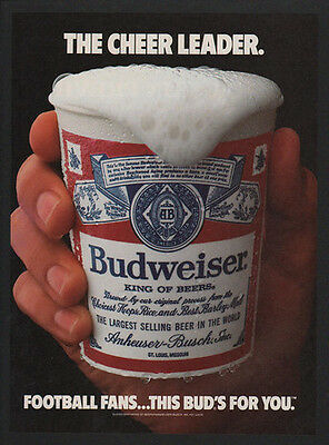 1986 BUDWEISER Beer - The Cheer Leader - Football Fans Buds for you - VINTAGE AD