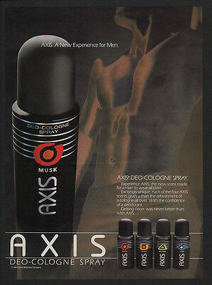1987 AXIS Deo-Cologne Men's Spray -  NEW EXPERIENCE FOR MEN -  VINTAGE AD