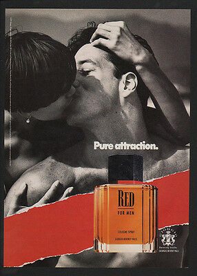 1991 RED Men's Cologne Spray - Man & Woman Kissing - VINTAGE ADVERTISEMENT
