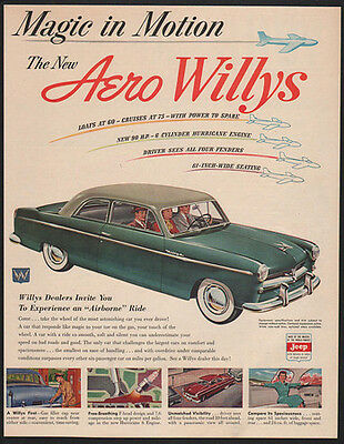 1952 Green WILLYS AERO Car - The New Aero Willys - Magic in Motion - VINTAGE AD