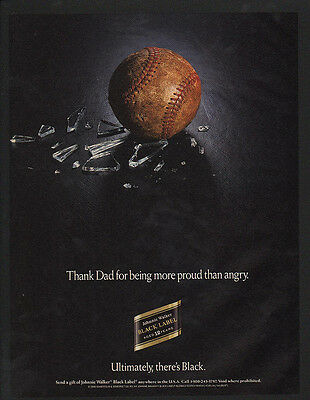 1991 JOHNNIE WALKER Black Label Scotch Whisky BASEBALL BREAKS WINDOW VINTAGE AD