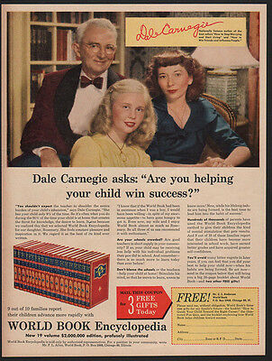 1950 DALE CARNEGIE - How To Win Friends - World Book Encyclopedia VINTAGE AD