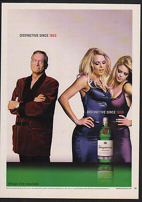 2004 TANQUERAY London Dry Gin - HUGH HEFFNER & Playboy Playmates -  VINTAGE AD