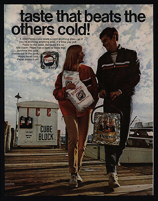 1968 PEPSI - Taste that Beats the Others Cold - Bottles  Block of Ice VINTAGE AD
