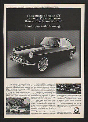 1967 MG ENGLISH GT Sports Car - Hardly Pays To Think Average -  VINTAGE AD