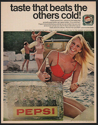 1968 PEPSI Cola - Taste That Beats The Others Cold - Sexy Woman - VINTAGE AD