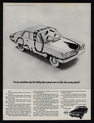 1968 VOLVO Car Painted Like A Dog - Car Named After the Wrong Animal VINTAGE AD
