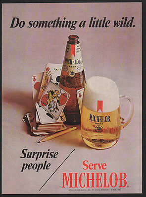 1970 MICHELOB Beer - Deck Of Cards Joker - Do Something a Little Wild VINTAGE AD