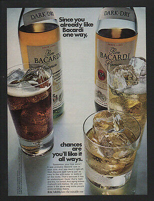 1971 BACARDI Rum - You'll Like It All Ways - Coca Cola - Water & Soda VINTAGE AD