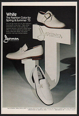 1973 JARMAN Men's Shoes - White the Fashion Color of Spring & Summer  VINTAGE AD