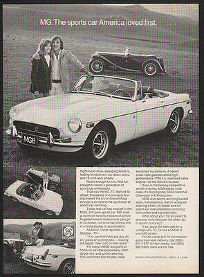 1972 White MG Convertible Sports Car - Sports Car America Loved First VINTAGE AD