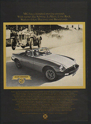 1975 MG MGB Convertible Sports Car - 50 Years Of Thundering Legends   VINTAGE AD