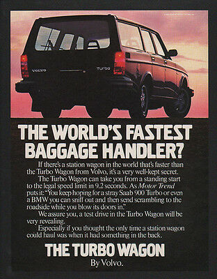 1982 VOLVO TURBO Station Wagon Car - World's Fastest Baggage Handler VINTAGE AD