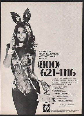 1973 SEXY PLAYBOY PLAYMATE BUNNY takes PLAYBOY HOTEL Room Reservation VINTAGE AD