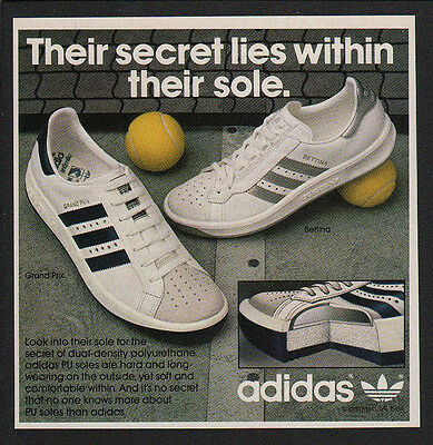 1984 ADIDAS GRAND PRIX & BETTINA Tennis Shoes - Sneakers VINTAGE ADVERTISEMENT