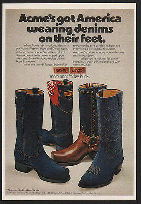 1974 ACME DINGO Denim Cowboy Boots - Wear Denim on Your Feet - VINTAGE AD