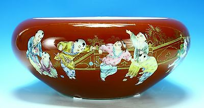 Chinese red bowl 20th century a masterpiece playing children with Opium flowers