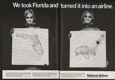 1968 NATIONAL AIRLINES - PRETTY STEWARDESS - MAP OF FLORIDA - 2 Page VINTAGE AD