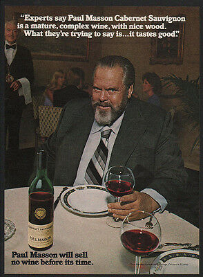 1980 ORSON WELLES Loves PAUL MASSON CABERNET SAUVIGNON Wine VINTAGE AD