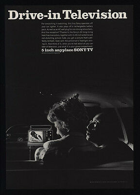 """1967 SONY 5"""" Anyplace Portable Television - TV - DRIVE-IN TELEVISION VINTAGE AD"""