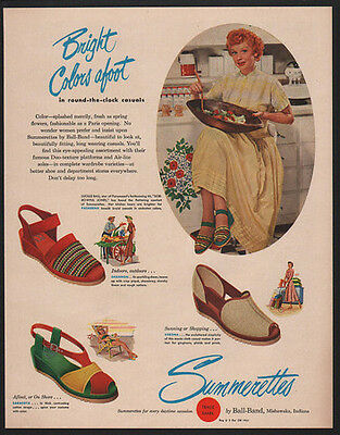 1949 SUMMERETTES Shoes - Actress & Comedian LUCILLE BALL - LUCY - VINTAGE AD