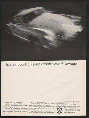 1969 VOLKSWAGEN KARMANN GHIA Car - Reliable As A Volkswagen - VW - VINTAGE AD