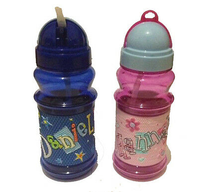 Personalised Flip Top Girls Boys Water Drinks Bottle Flask Cup Pop Out Straw