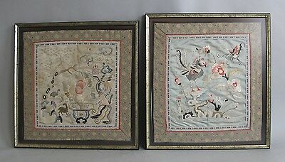 Pair of Large Framed Antique Chinese Silk Embroideries w/ Flowers and Animals