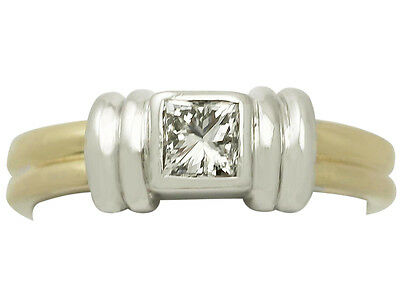 0.32ct Diamond & 18ct Yellow Gold Solitaire Ring - Art Deco Style - Contemporary