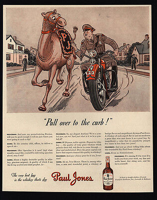 1942 PAUL JONES Whiskies - Camel - Motorcycle Cop - Police Pull Over  VINTAGE AD