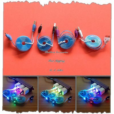 LED 4 Color USB Data/Sync Charger Cable Cord For Apple iPhone 4,4s iOS 7 #LV6
