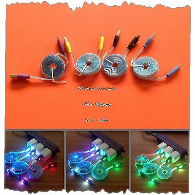LED Color Micro USB Data Sync Charger Cable For Galaxy S3 S4 Note 2 3 HTC One LG