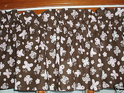 pastel PINK dot PLAID stripe BUTTERFLY chocolate brown LINED custom VALANCE