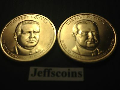 2014 P&D Herbert Hoover Presidential Golden Dollar via MINT Roll 2 Coin Set HH1