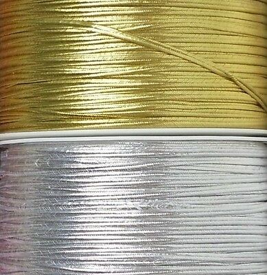 2mm Metallic Soutache Braid Cord Trim Glossy Gold & Silver 1, 2, 5, 10 meters