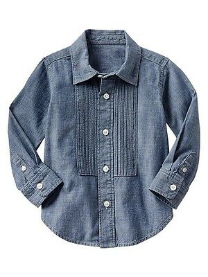 GAP Baby / Toddler Boy 12-18 Months NWT Blue Denim Chambray Tuxedo Shirt Top
