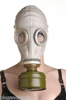 White/Grey Military Rubber Gas Mask Hood Full Face- War Army Soldier Costume