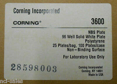 Corning Costar 3600 Assay Plate 96 Well Flat Bottom Non-Sterile White