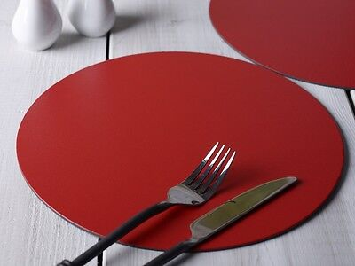 Set of 4 RED Round PLACEMATS Leatherboard Tablemats
