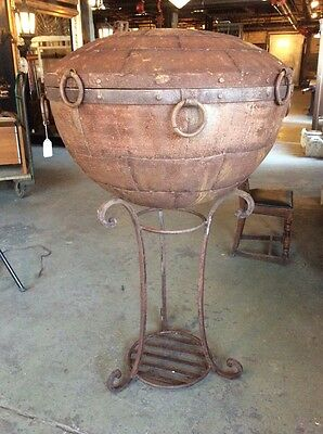 Antique Oversized Iron Cauldron / Planter / Fire Pit With Stand #7976