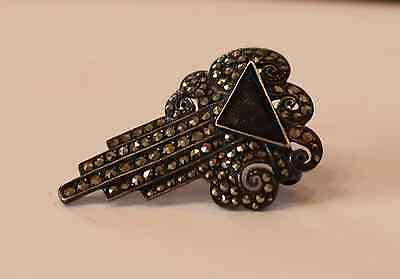 Markasit Tuchclip mit Onyx - Marcasite clip for a scarf with onyx