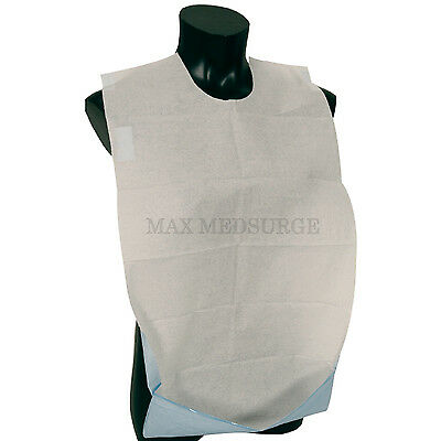 100 Disposable Adult BIB with Pocket, Self Adhesive Clothing Dining Protector
