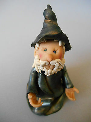 """VINTAGE but NEW Handmade Sculpted WIZARD Sculpy Clay 3"""" tall Mythical  NEW"""
