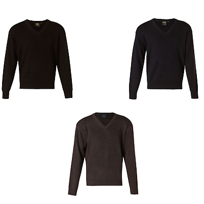 New Mens V Neck Wool Knit Acrylic Sweater Jumper Work Business Formal Casual
