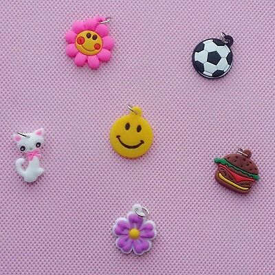 RC1 6x Cute Rubber Charms Pendant w/ Ring For Rainbow Loom Bands Bracelet Kits