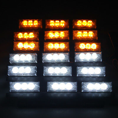 White/Yellow 54 LED Emergency Vehicle Strobe Flasher Lights Deck Dash Grille