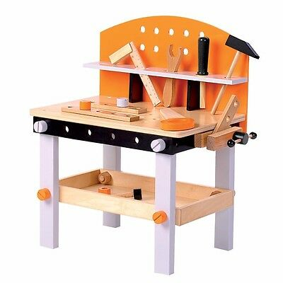 Kids Boys Wooden Carpenters Work Bench with Play Tools