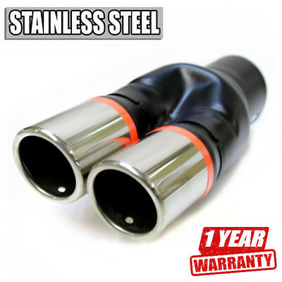 Universal Sport  Dual  Twin Exhaust Pipes Muffler Trim Pipe Tail Tip Chrome